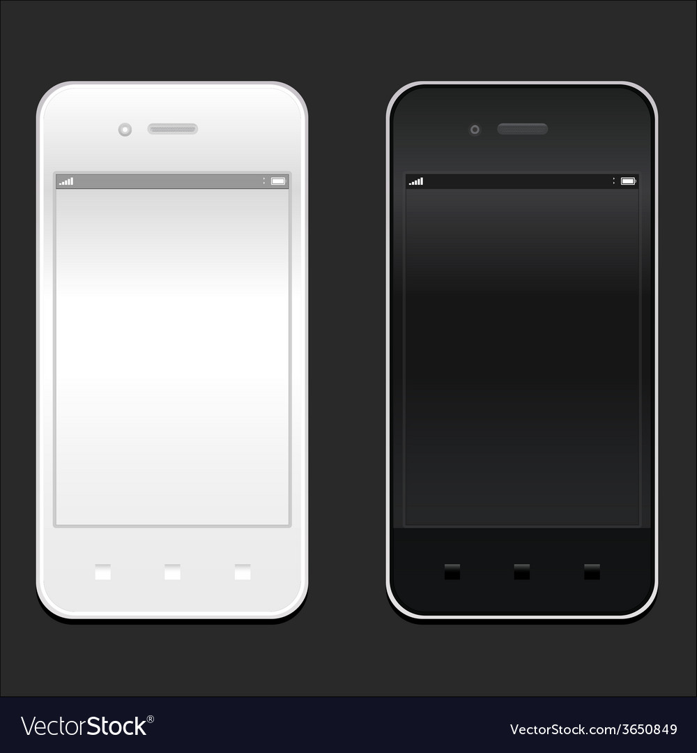 White and black smartphone realistic mockup model vector | Price: 1 Credit (USD $1)