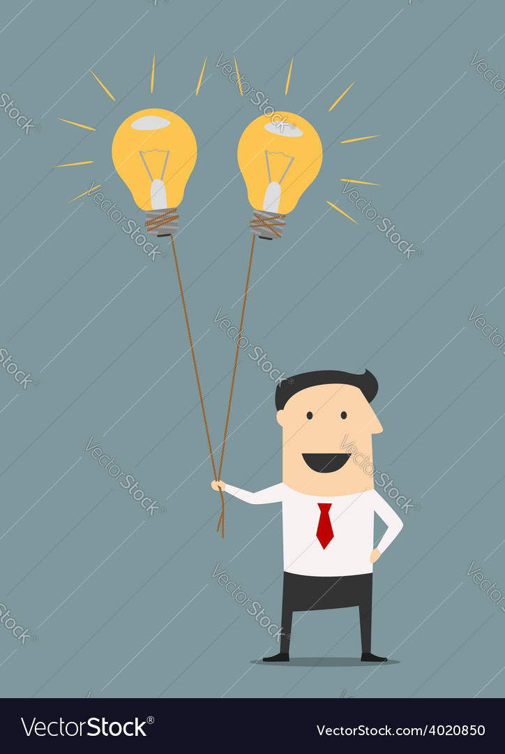 Businessman with idea bulb balloons vector | Price: 1 Credit (USD $1)
