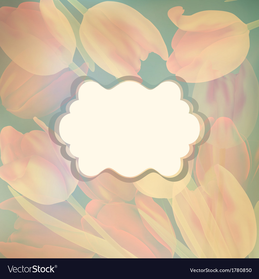 Card with beautiful yellow tulips eps 10 vector | Price: 1 Credit (USD $1)