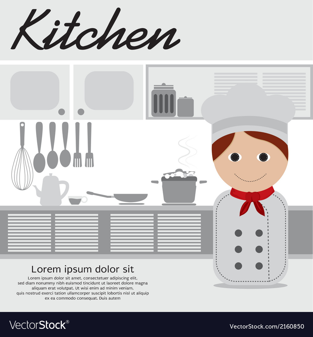 Chef in kitchen vector | Price: 1 Credit (USD $1)