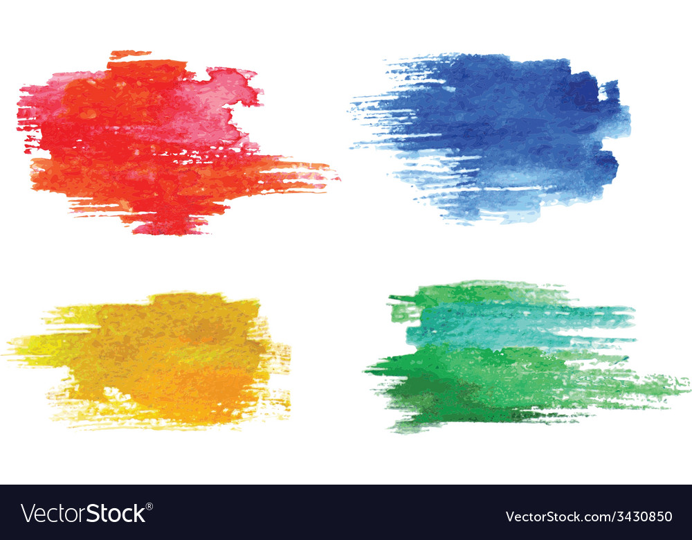 Colorful watercolor design elements vector