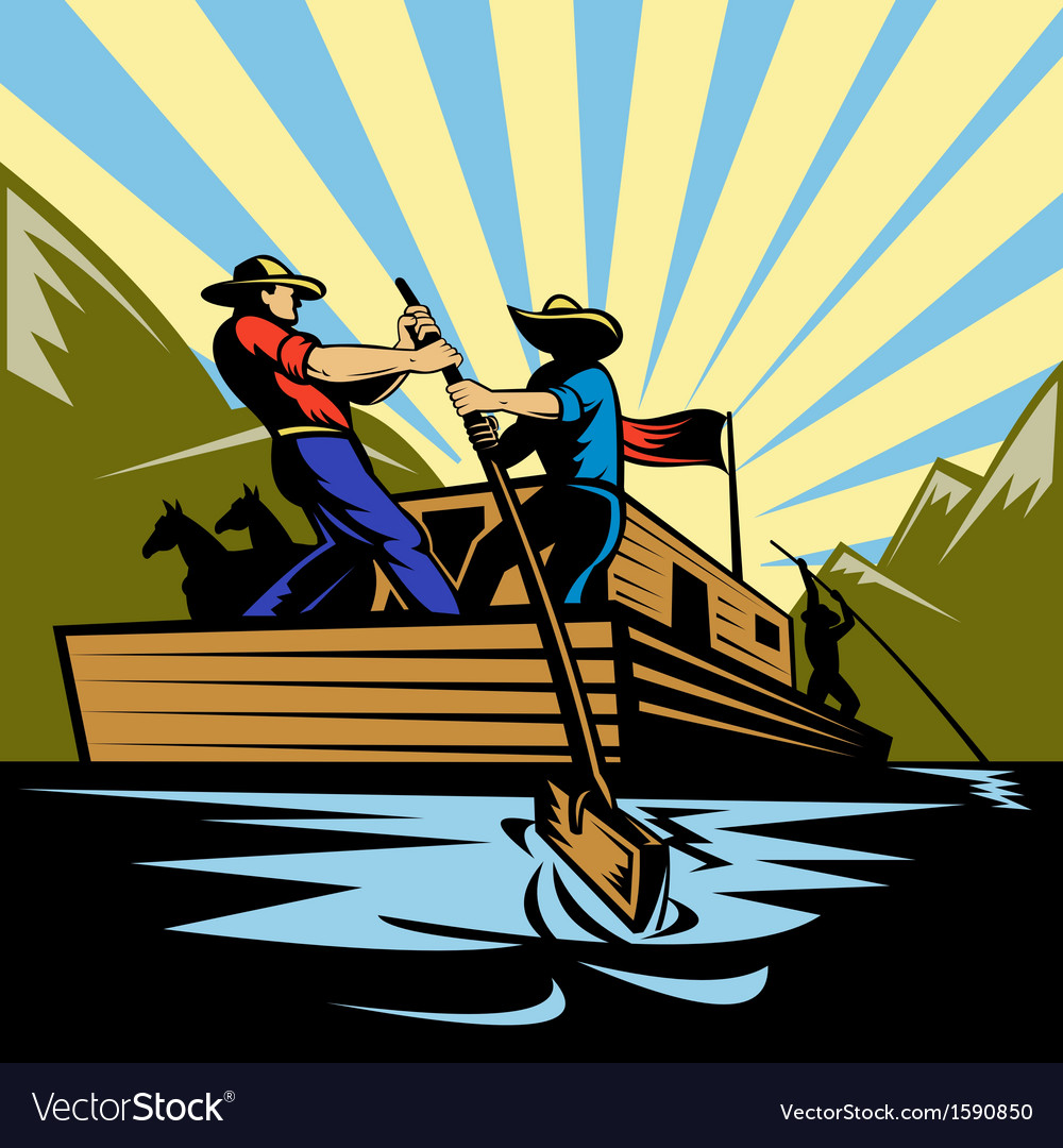 Cowboy man steering flatboat along river vector | Price: 1 Credit (USD $1)