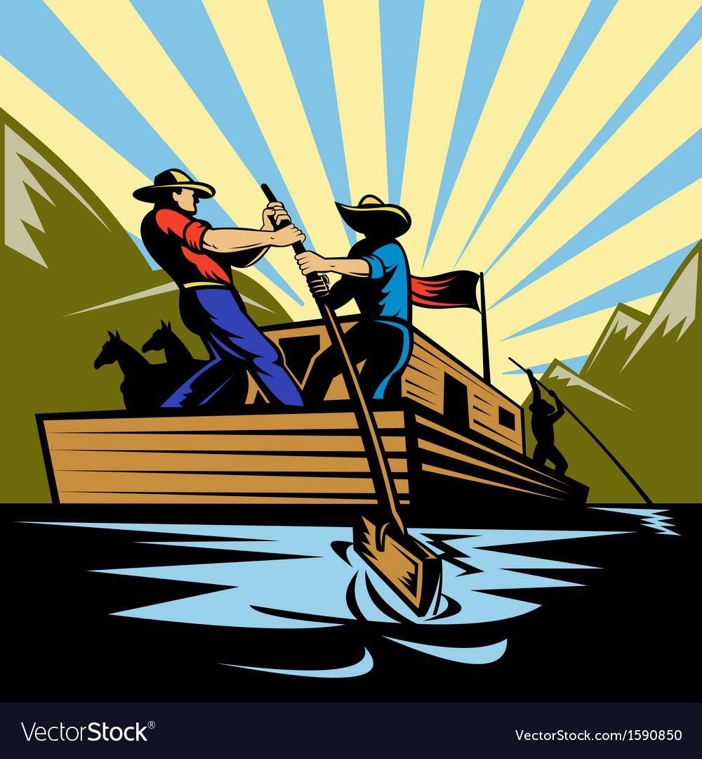 Cowboy man steering flatboat along river vector | Price: 1 Credit (USD $1)
