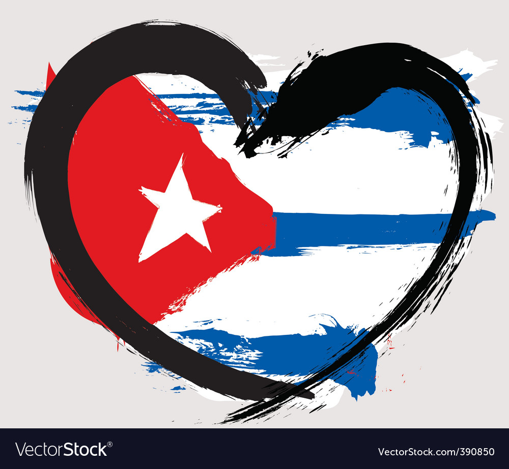 Cuba heart shape flag vector | Price: 1 Credit (USD $1)