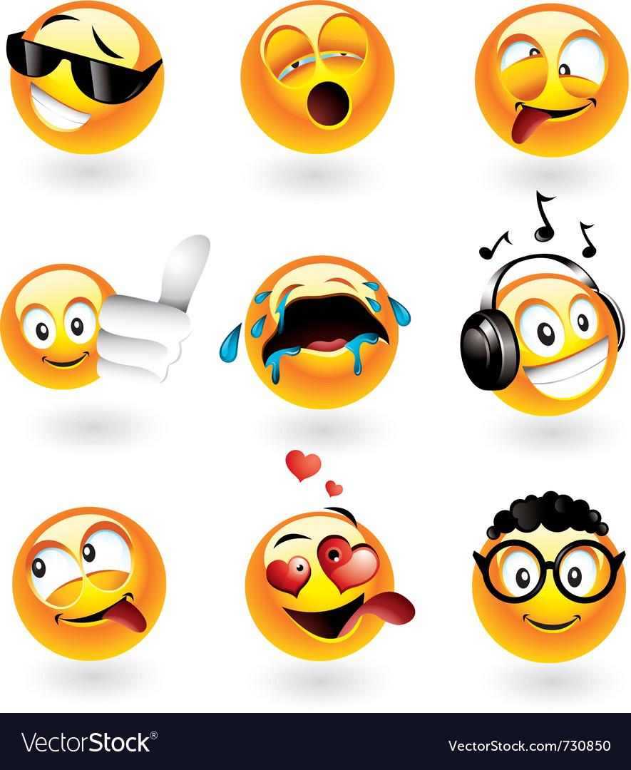 Emoticons set vector | Price: 5 Credit (USD $5)