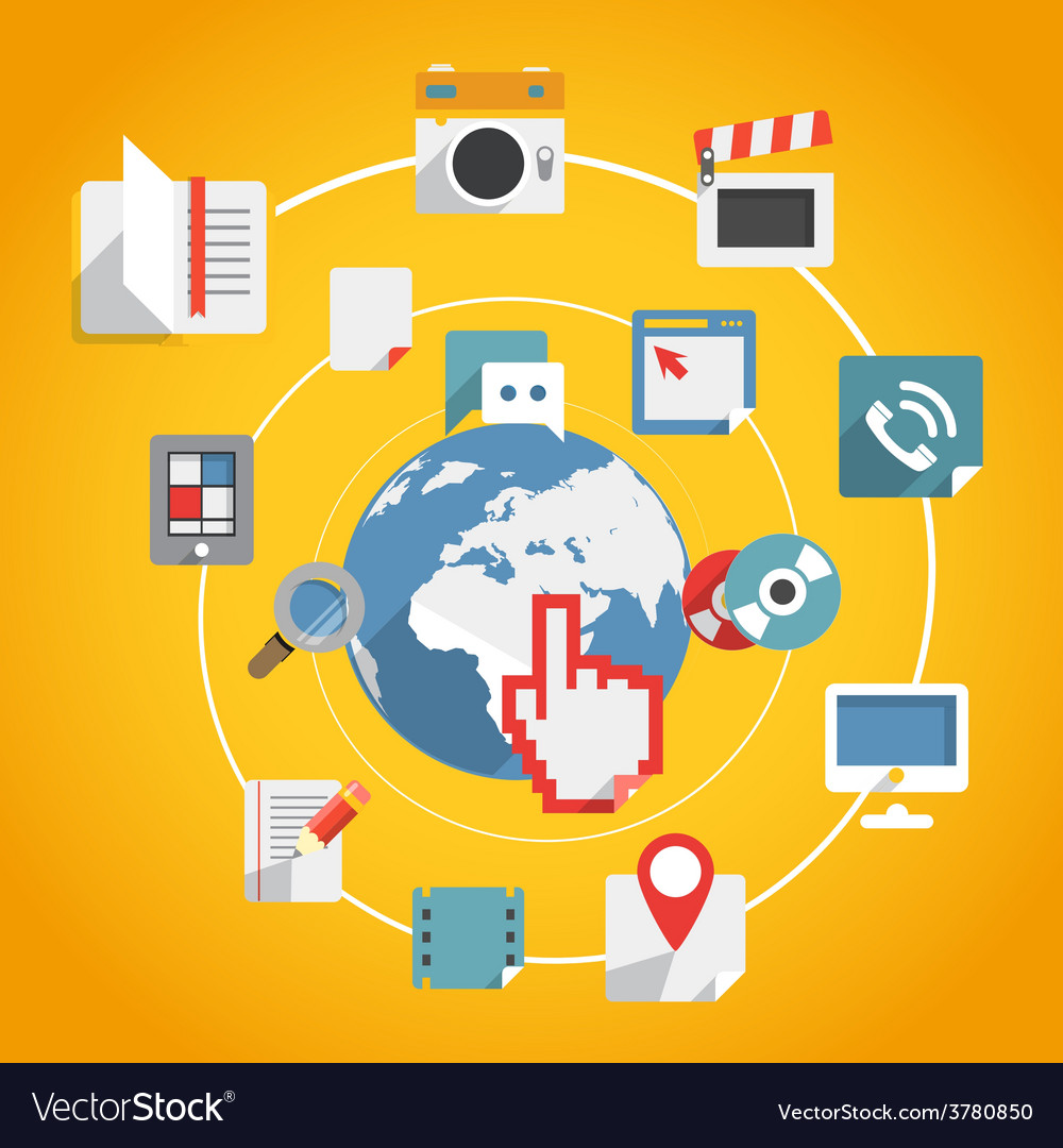 Flat design modern web media network concept vector | Price: 1 Credit (USD $1)