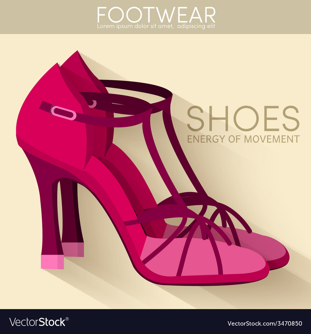 Flat styling wooman shoes bakground concept vector | Price: 1 Credit (USD $1)