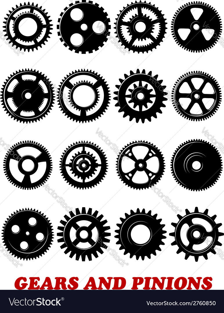 Gears and pinions set vector | Price: 1 Credit (USD $1)