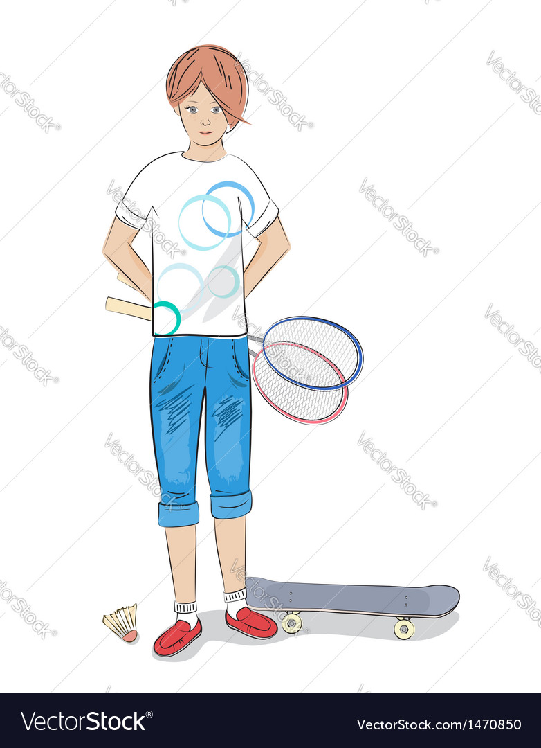 Girl with badminton racket and skateboard vector | Price: 3 Credit (USD $3)
