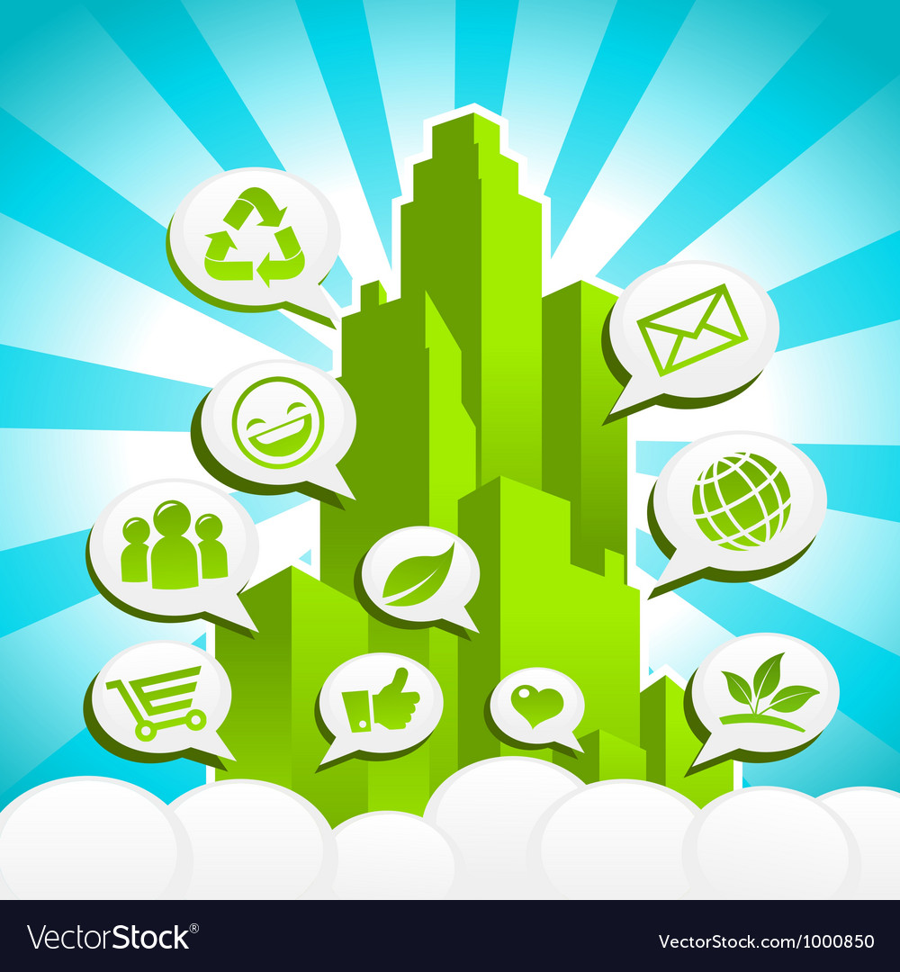 Green eco city vector | Price: 1 Credit (USD $1)