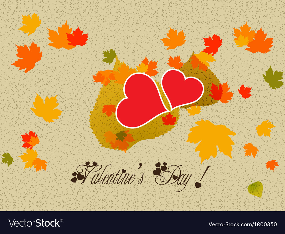 Happy valentine with leaf hearts vector | Price: 1 Credit (USD $1)