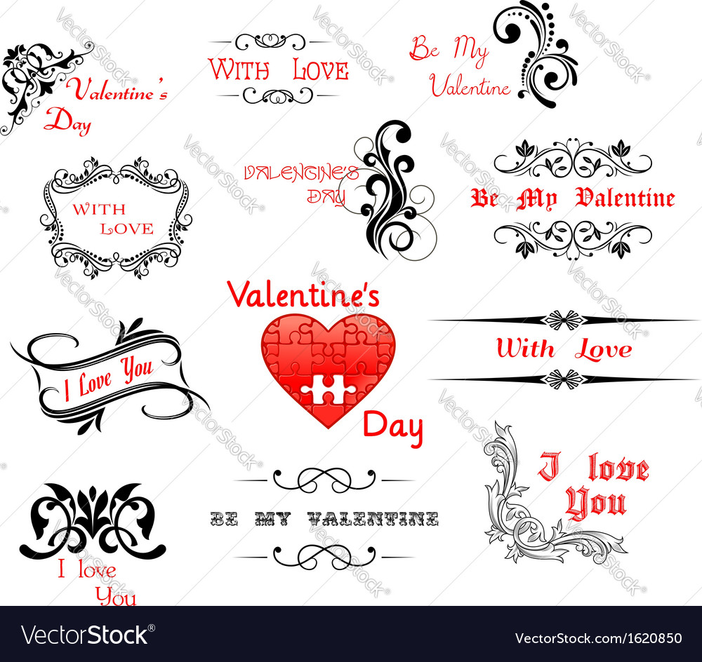 Love and valentine day calligraphic headers vector | Price: 1 Credit (USD $1)
