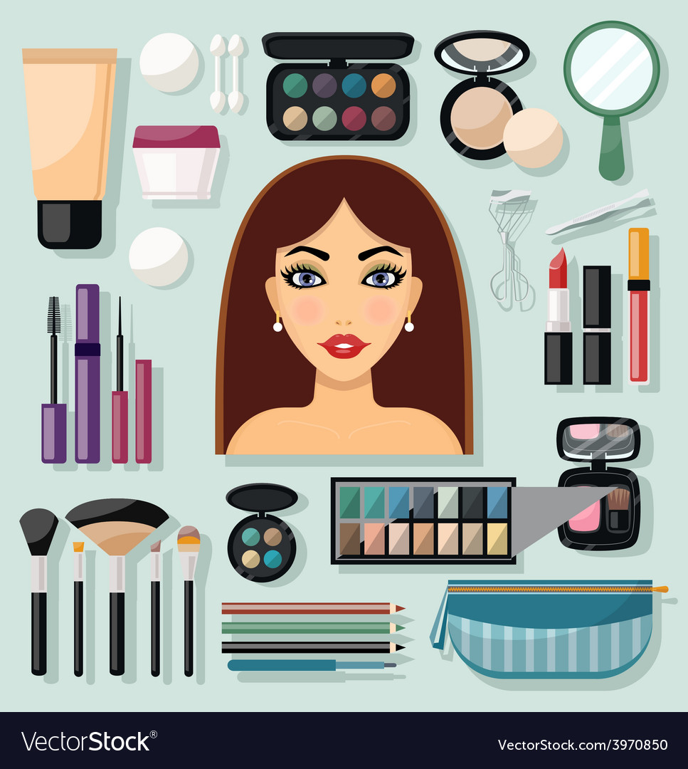 Make-up icons flat vector | Price: 1 Credit (USD $1)