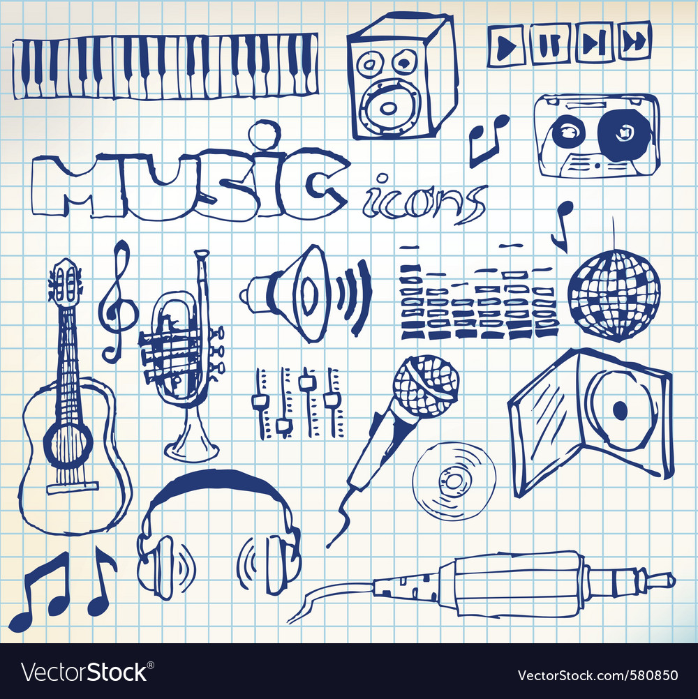 Music doodle icons vector   Price: 1 Credit (USD $1)