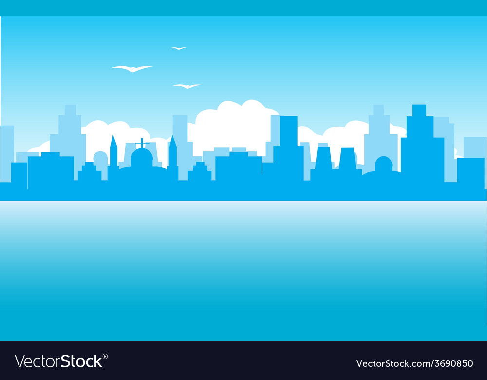 Silhouette of the city on seaside vector | Price: 1 Credit (USD $1)