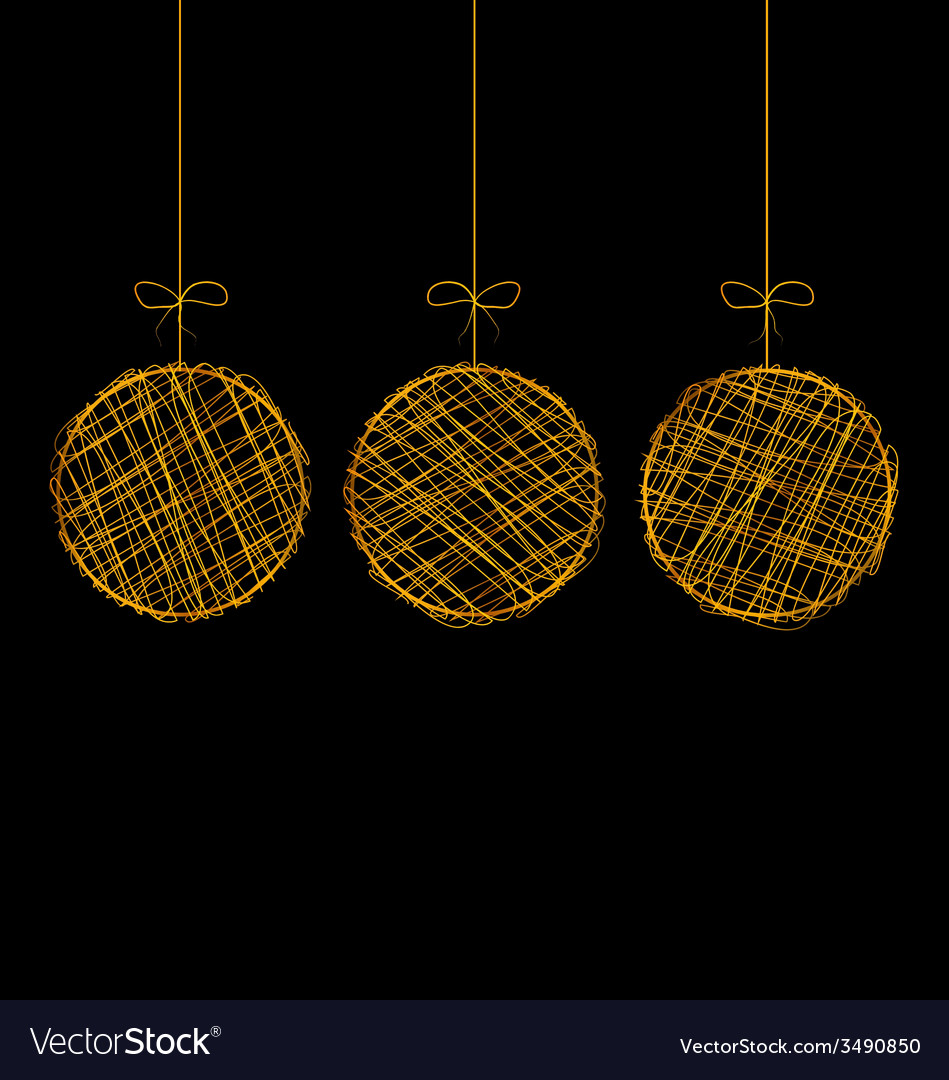 Wicker christmas balls isolated on black vector | Price: 1 Credit (USD $1)