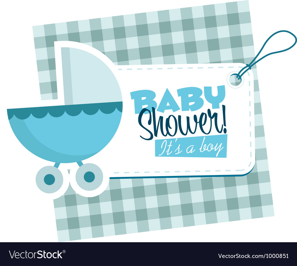 Baby boy stroller invitation card vector | Price: 1 Credit (USD $1)