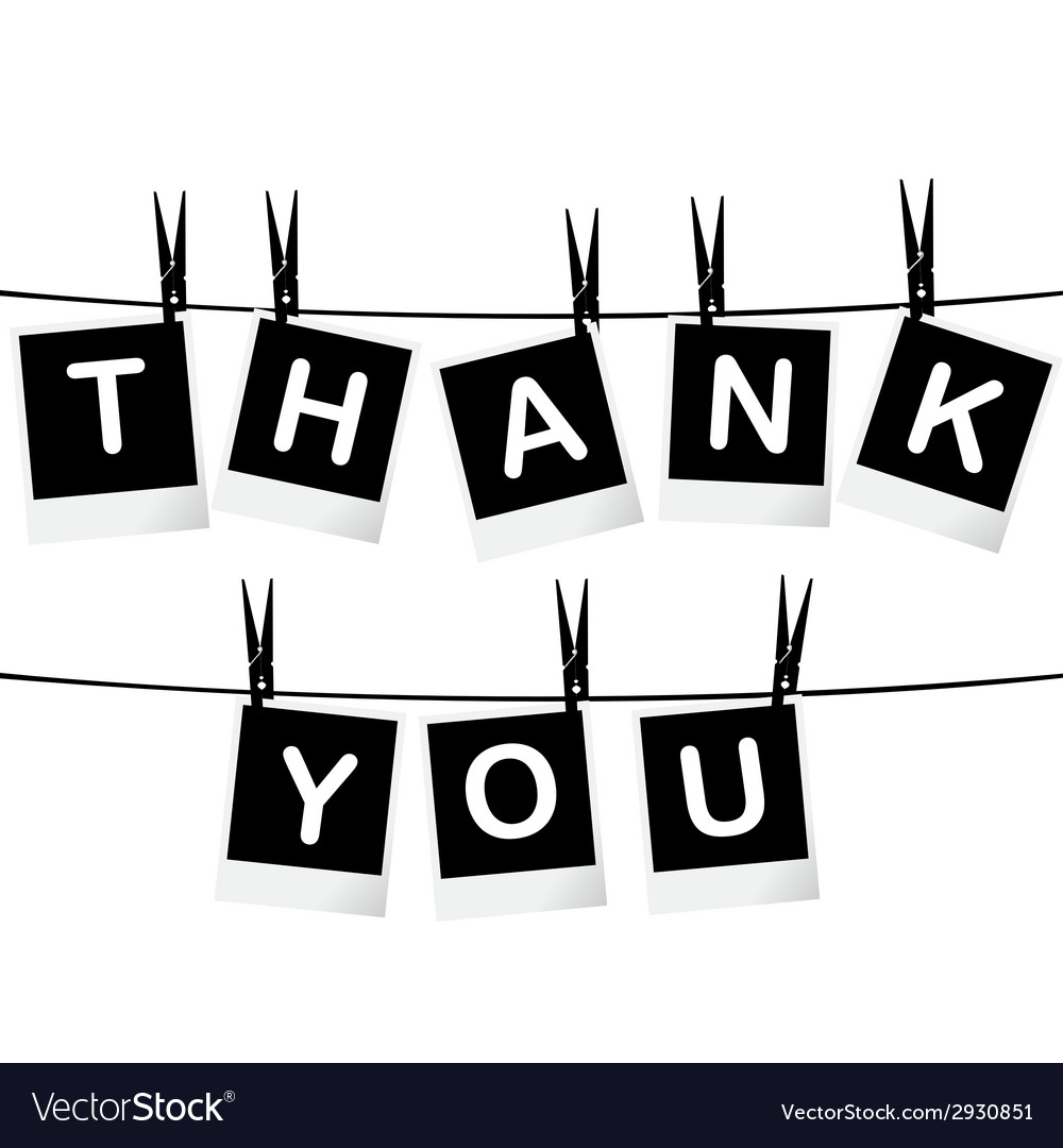 Black and white thank you card vector   Price: 1 Credit (USD $1)