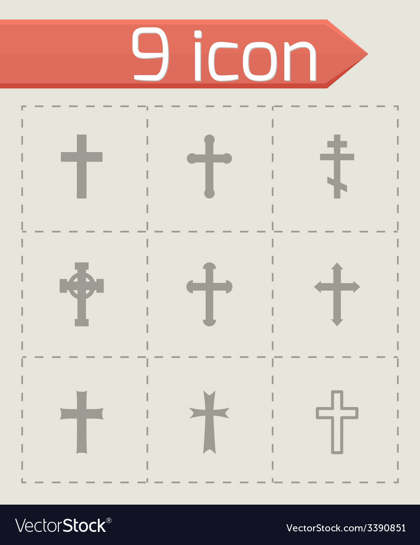 Black crosses icon set vector | Price: 1 Credit (USD $1)