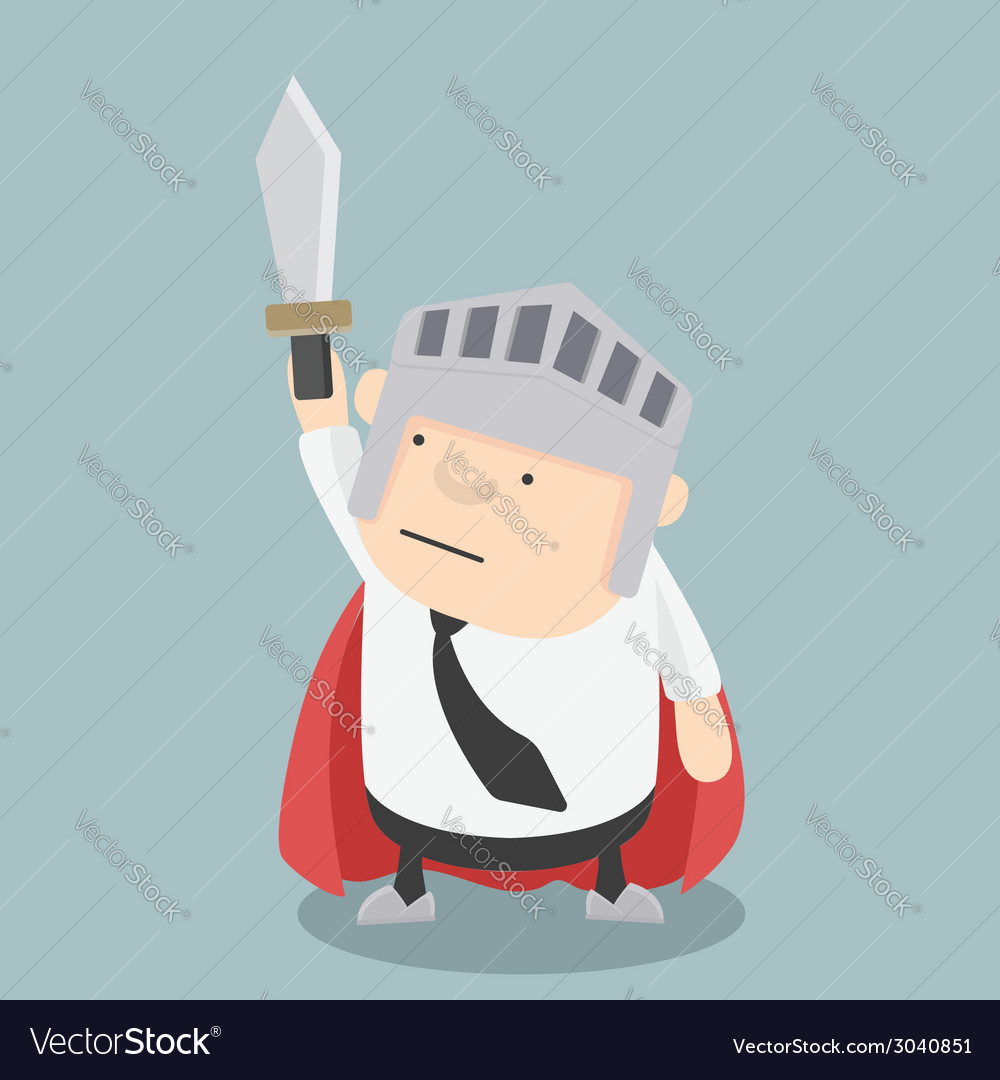 Fat businessman sword vector | Price: 1 Credit (USD $1)