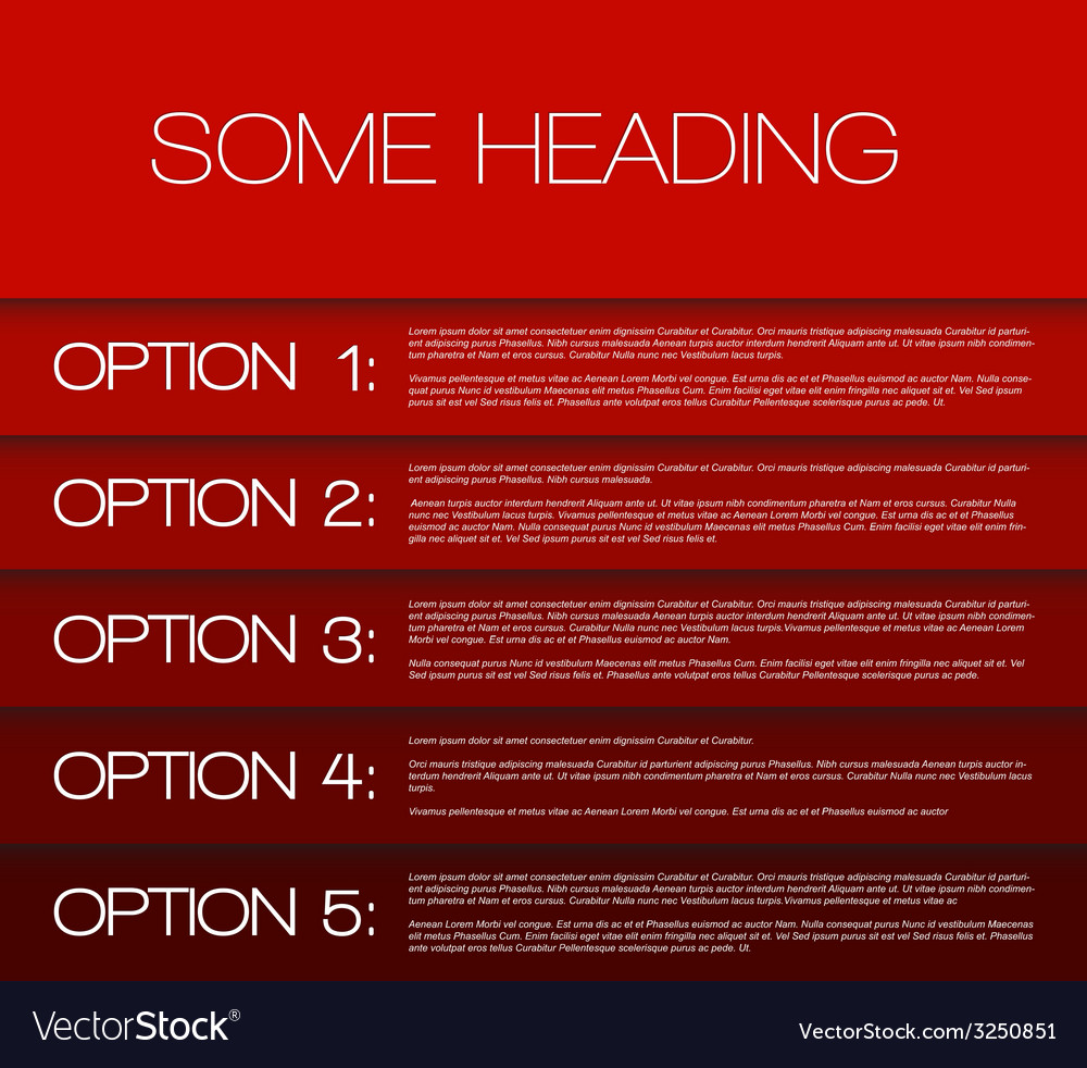 One two three four five - options background vector | Price: 1 Credit (USD $1)