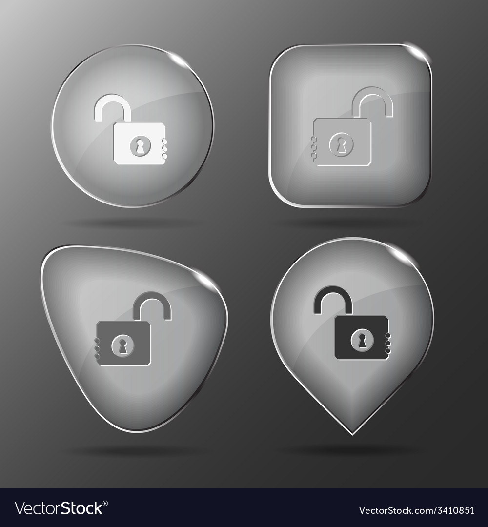 Opened lock glass buttons vector | Price: 1 Credit (USD $1)