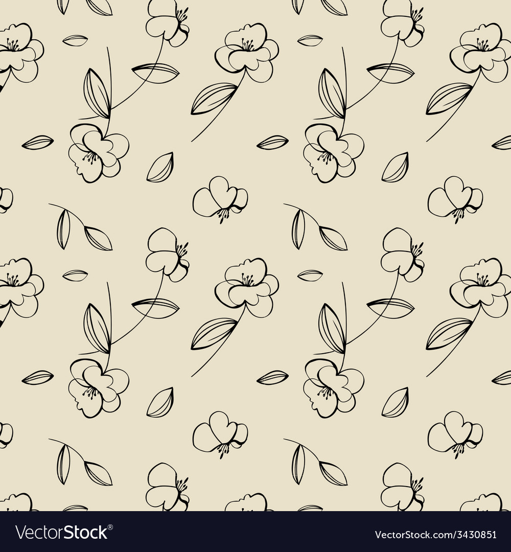 Seamless cute flower pattern vector | Price: 1 Credit (USD $1)