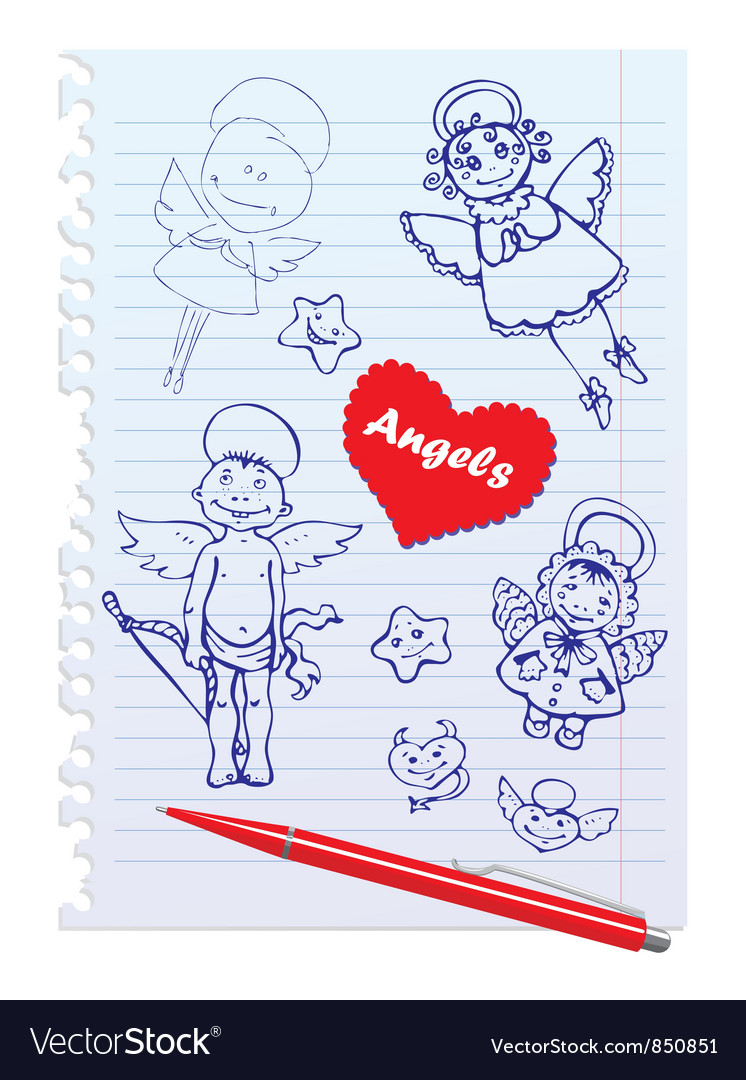 Set of hand-drawn sketchy angels on lined notebook vector | Price: 1 Credit (USD $1)