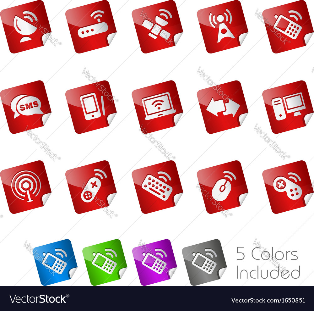 Wireless communications stickers vector | Price: 1 Credit (USD $1)