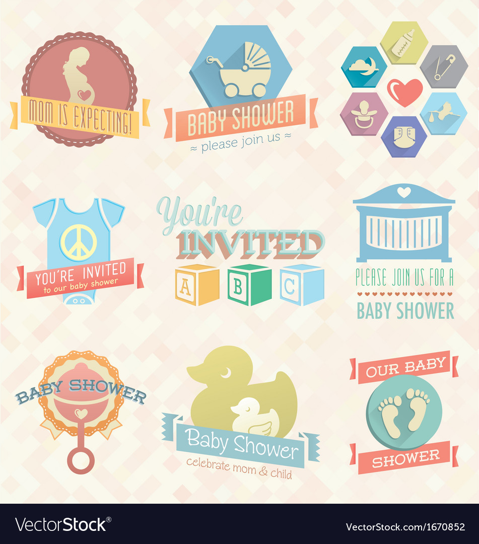 Baby shower invitation labels and icon vector | Price: 1 Credit (USD $1)