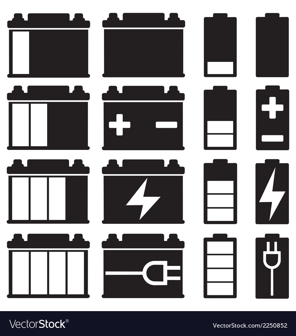 Battery icon set vector | Price: 1 Credit (USD $1)