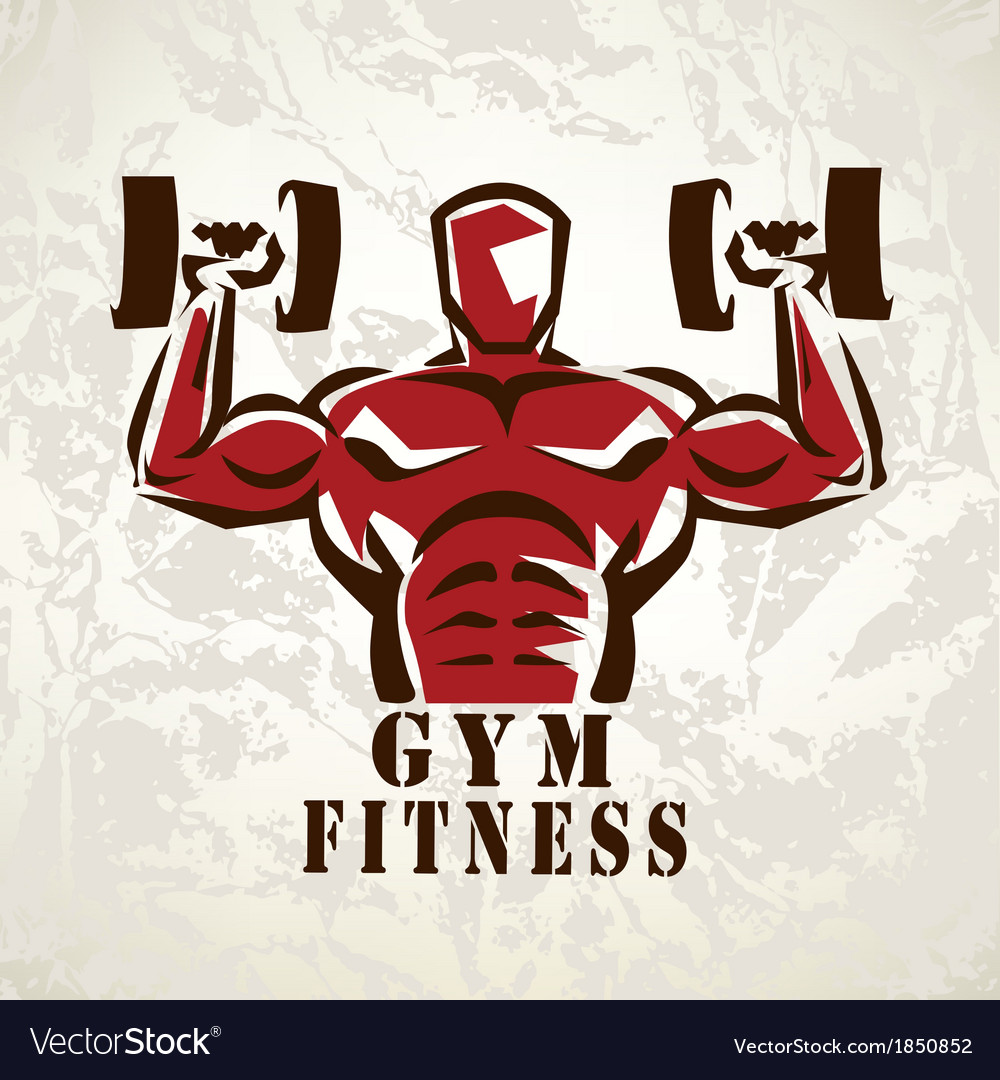 Bodybuilder athlete exercising symbol vector | Price: 1 Credit (USD $1)