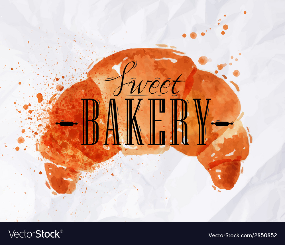 Croissant watercolor poster vector | Price: 1 Credit (USD $1)