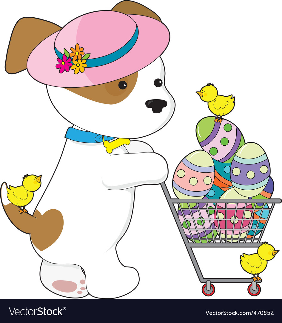 Cute dog easter eggs vector | Price: 1 Credit (USD $1)