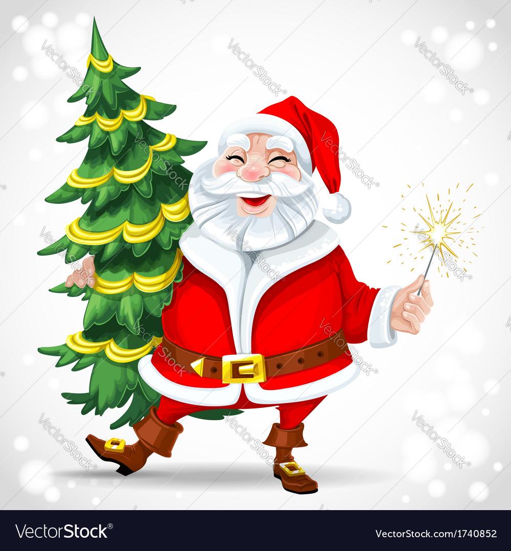 Cute santa claus holding christmas tree vector   Price: 1 Credit (USD $1)