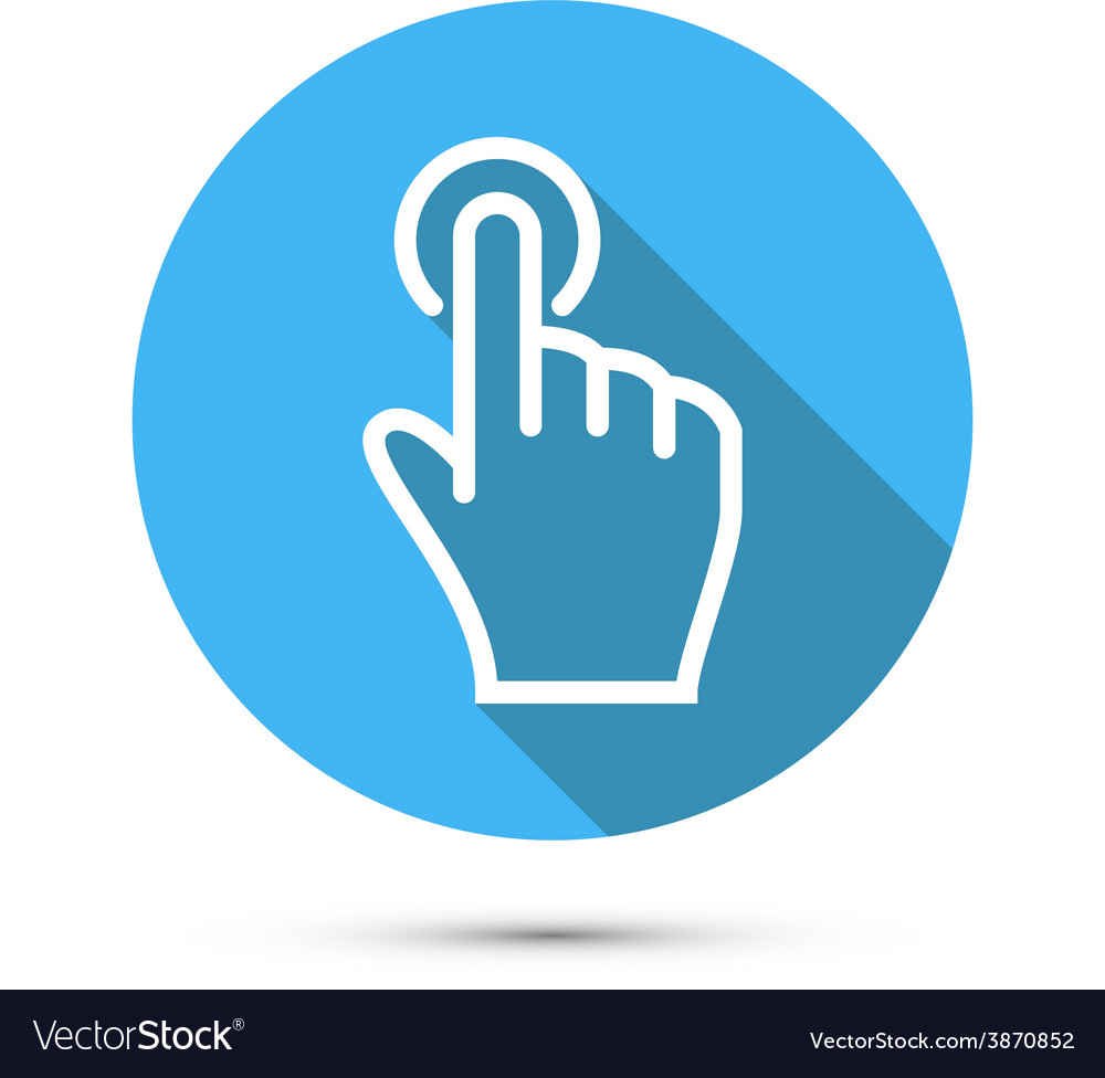Flat social icon hand touch vector