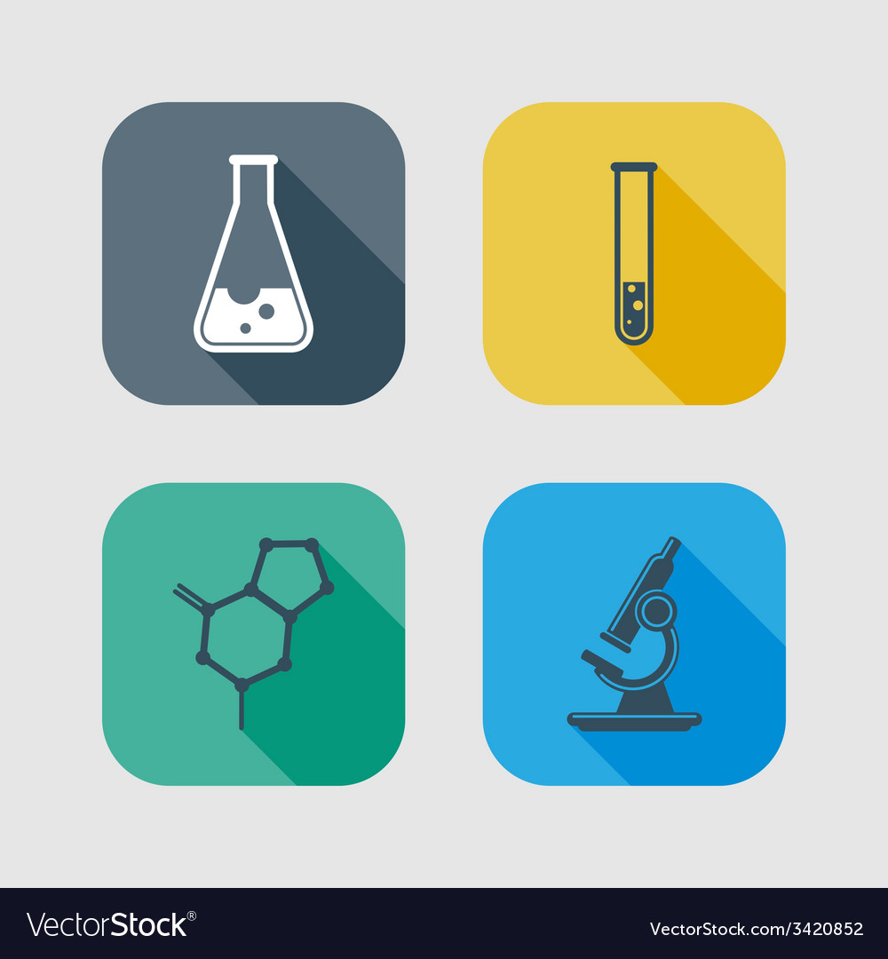 Icon set of science signs flat design with long vector | Price: 1 Credit (USD $1)