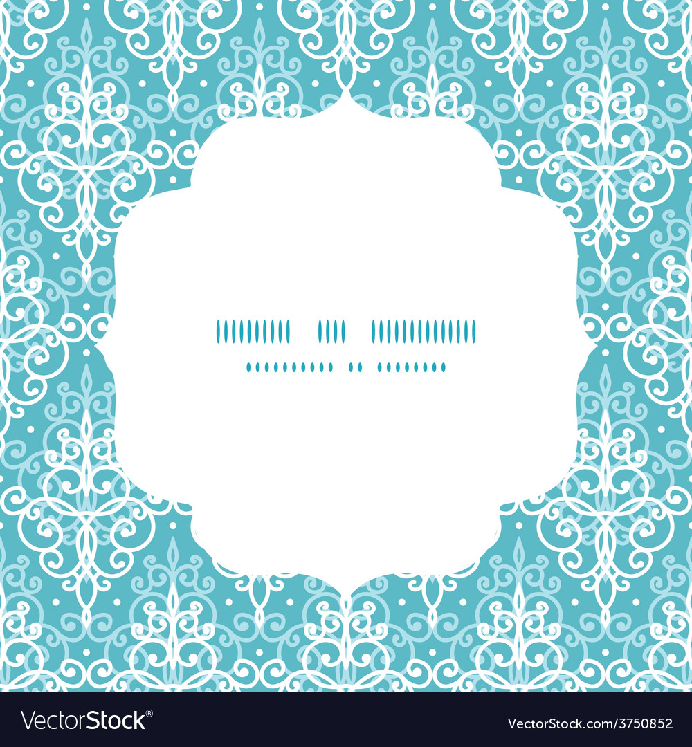 Light blue swirls damask circle frame vector | Price: 1 Credit (USD $1)