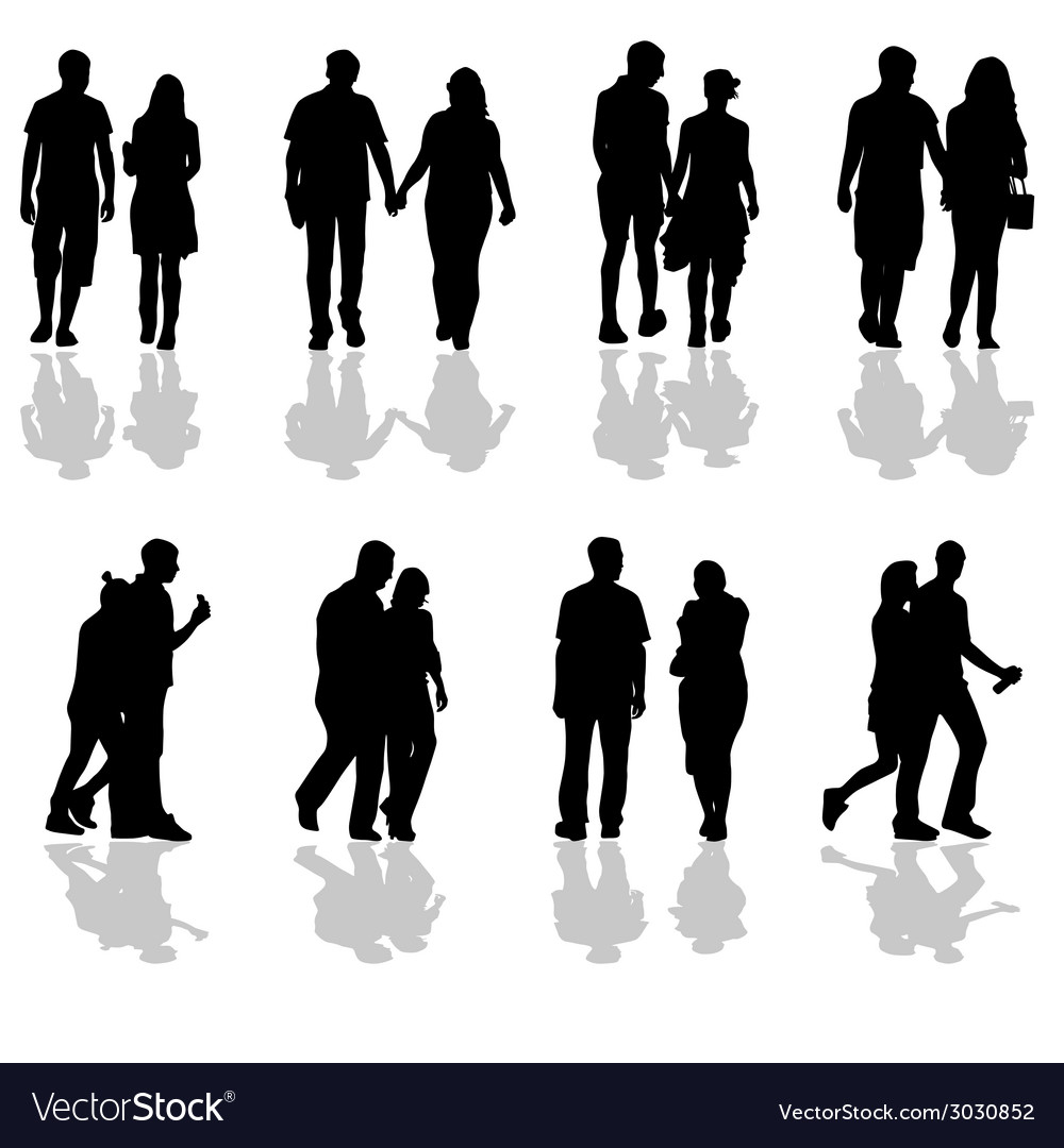 People walking in pairs silhouette vector | Price: 1 Credit (USD $1)