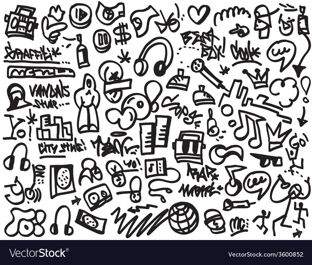 Rap doodles vector | Price: 1 Credit (USD $1)