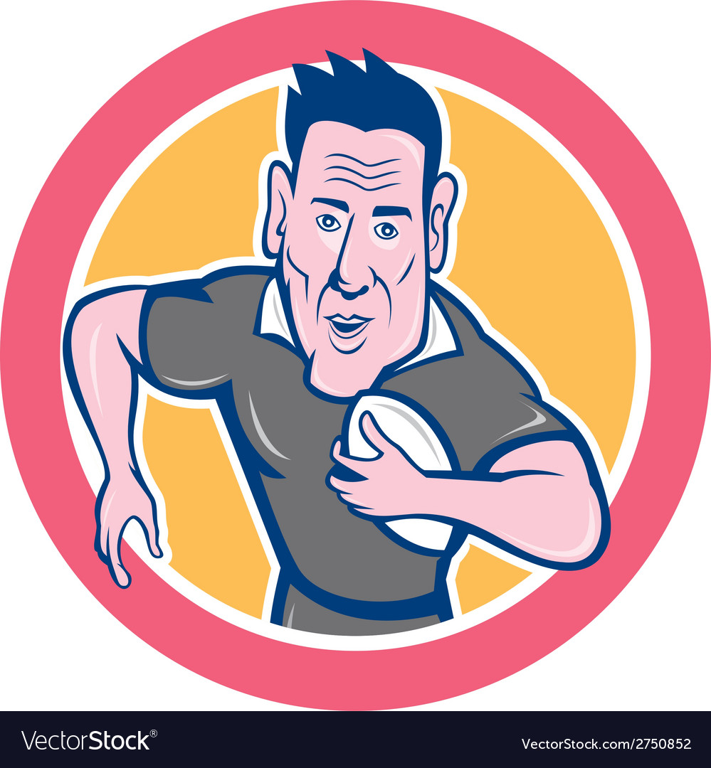 Rugby player running charging circle cartoon vector | Price: 1 Credit (USD $1)