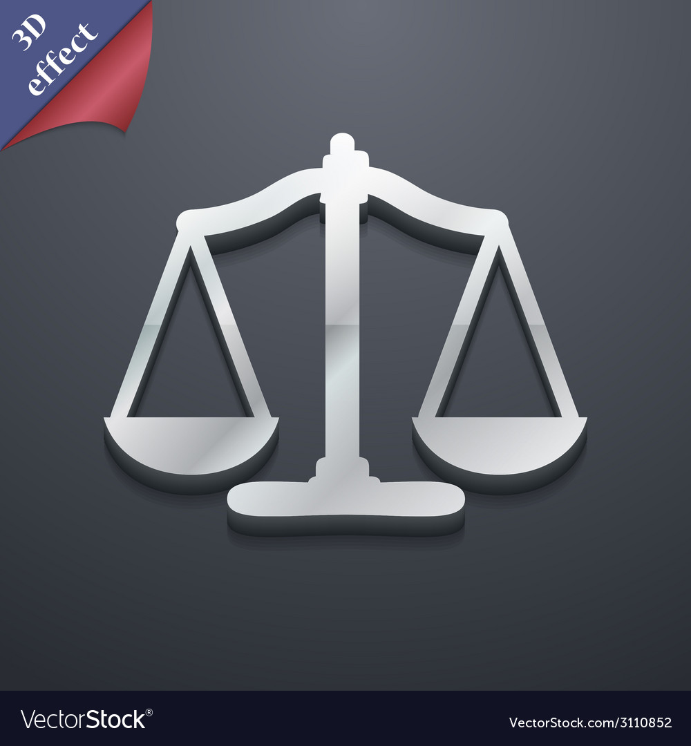 Scales of justice icon symbol 3d style trendy vector | Price: 1 Credit (USD $1)