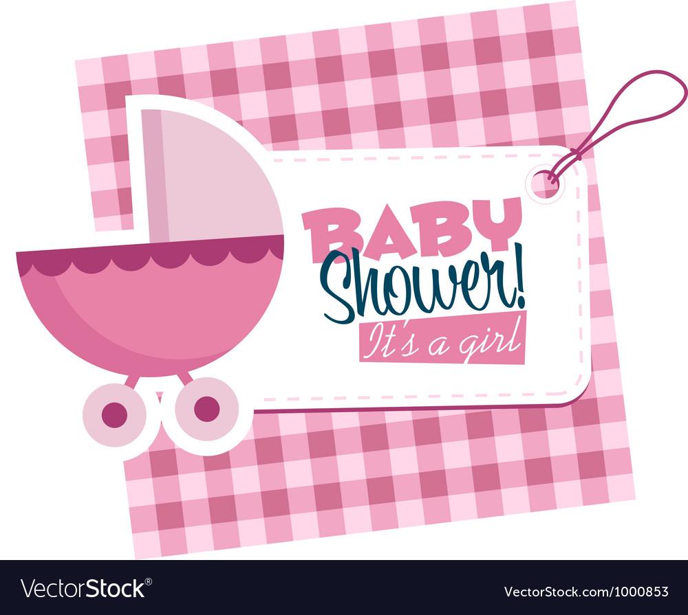 Baby girl stroller invitation card vector | Price: 1 Credit (USD $1)