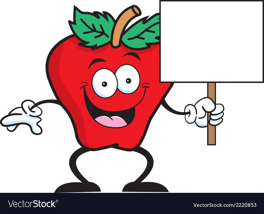 Cartoon apple sign vector | Price: 1 Credit (USD $1)