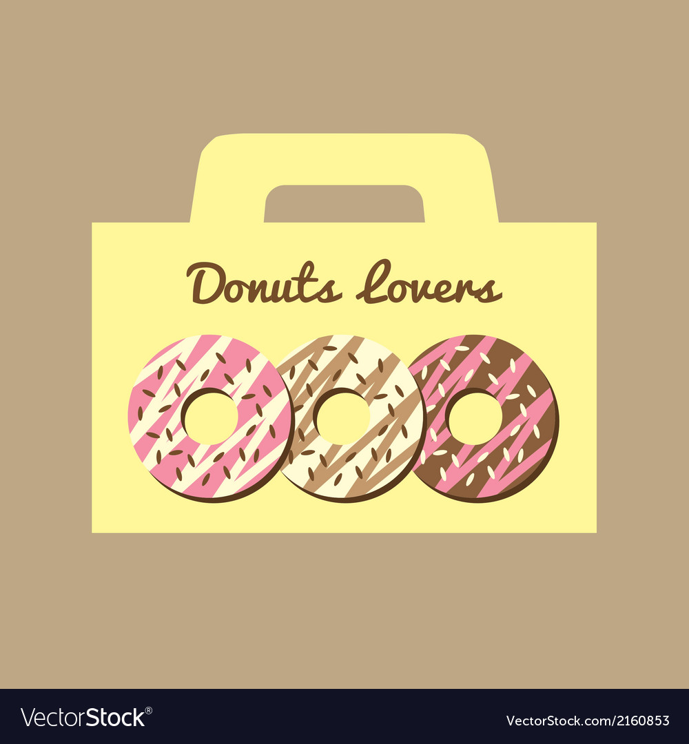 Donuts lovers box vector | Price: 1 Credit (USD $1)