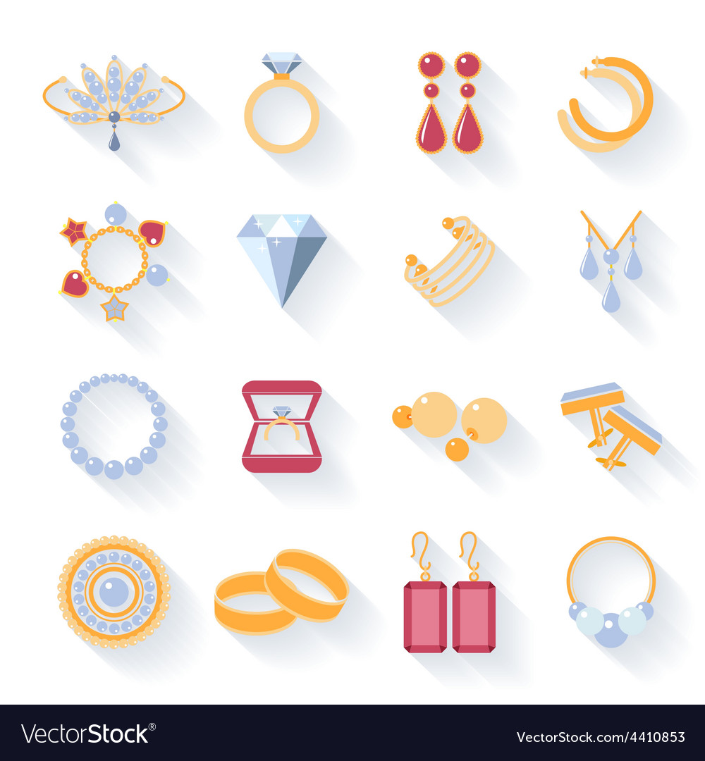 Earrings rings cufflinks and necklaces flat vector | Price: 1 Credit (USD $1)