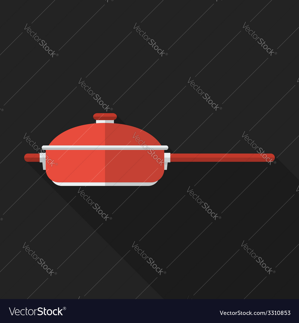 Flat pan with long shadow icon vector | Price: 1 Credit (USD $1)