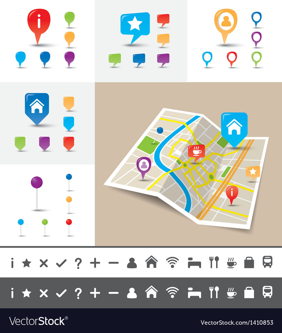 Folded city map with gps pin icons and markers vector | Price: 1 Credit (USD $1)