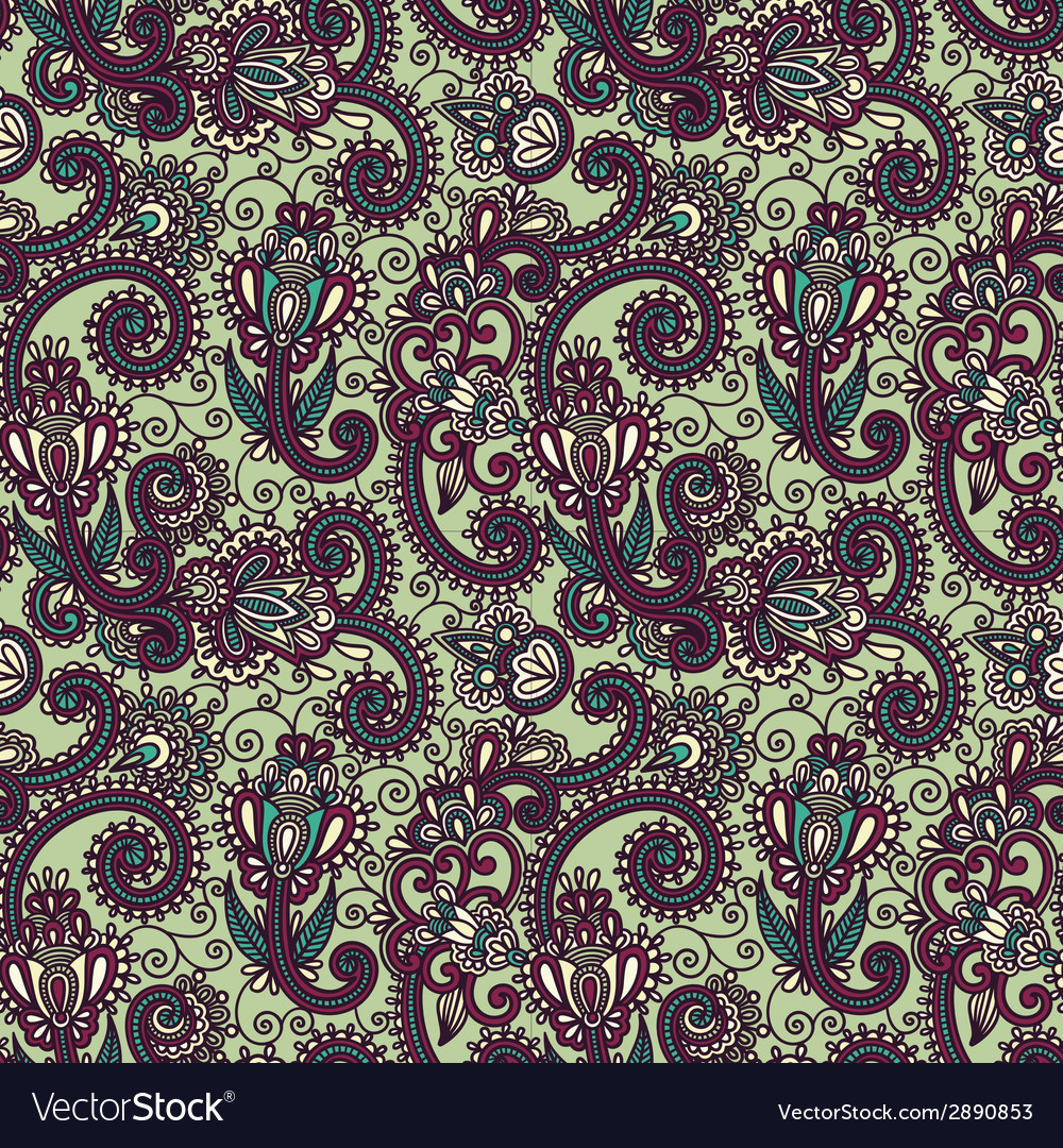 Hand draw ornate seamless flower paisley design vector | Price: 1 Credit (USD $1)
