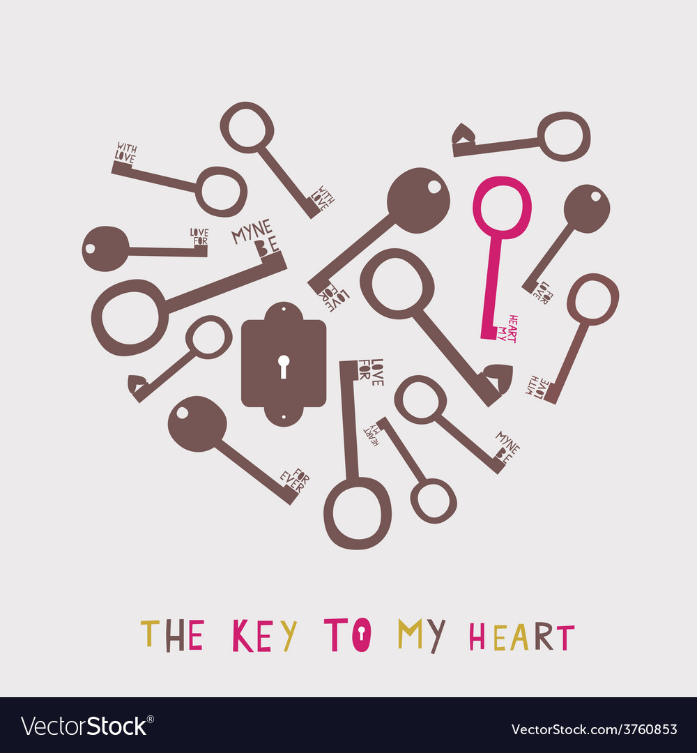 Heart from the stylized keys vector | Price: 1 Credit (USD $1)